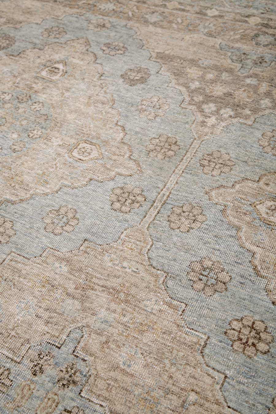 Detailed view of traditional Artemis rug in blue colour