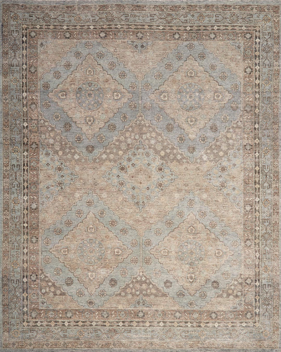 Overhead view of traditional Artemis rug in blue colour