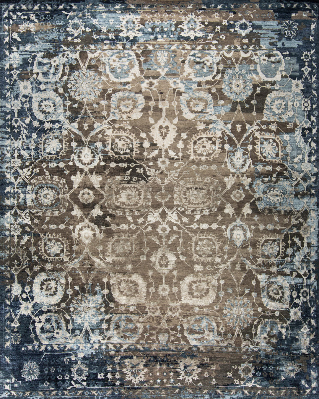 Overhead image of classic Athena rug in blue colour