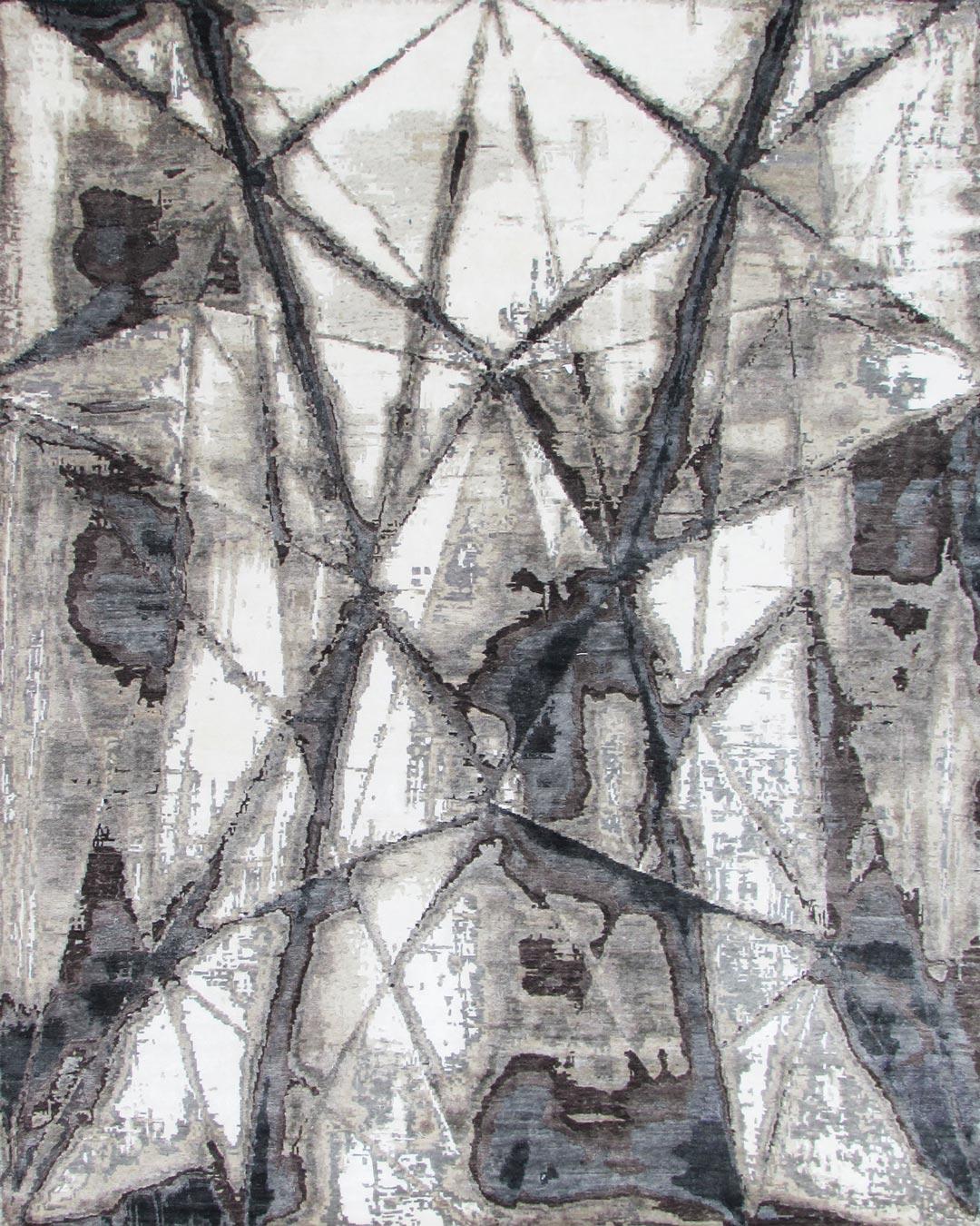 Overhead image of geometric Atlas rug in grey colour