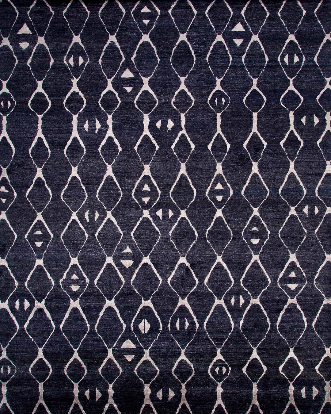 Overhead image of tribal Blair rug in black colour
