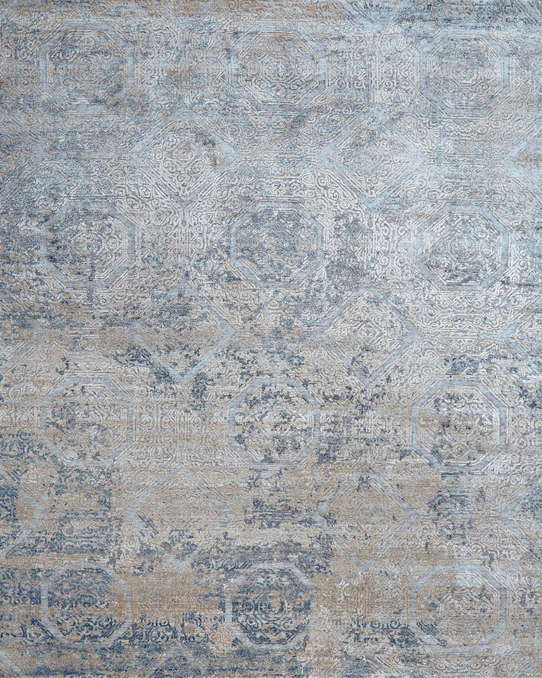 Overhead view of classic Camden rug in blue colour