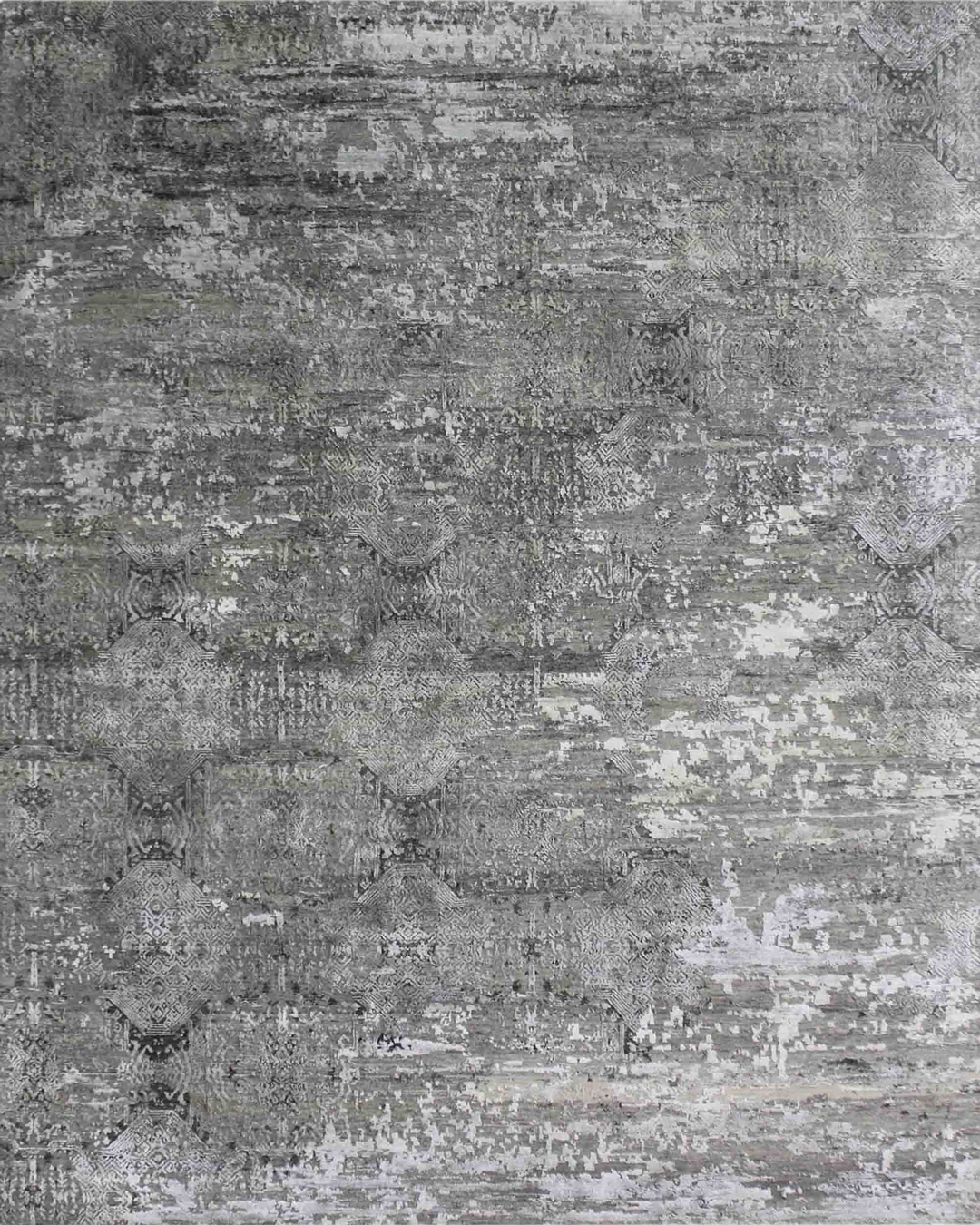 Overhead view of classic Cinnabar rug in grey colour
