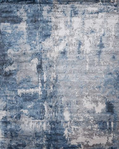 Overhead view of Clarisse rug in blue colour