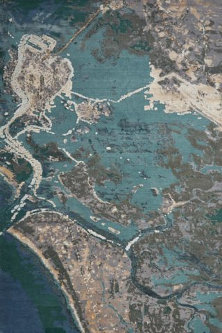 Overhead view of abstract Coastal rug in blue colour