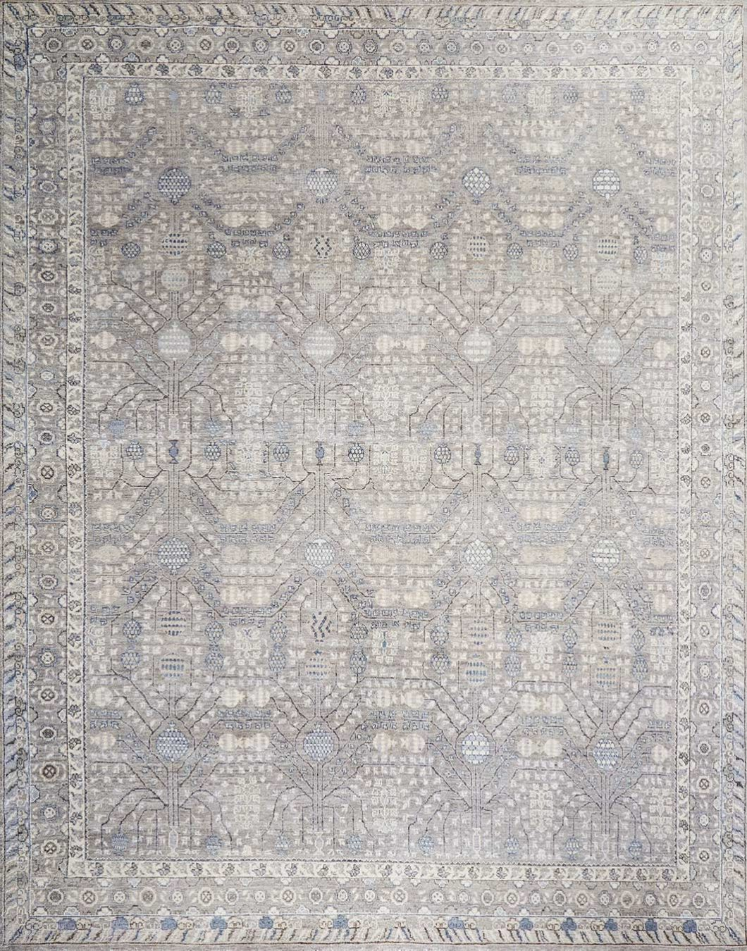 Overhead image of traditional grey Cordoba rug