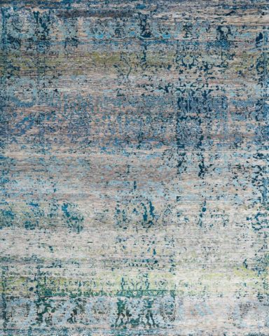 Overhead image of traditional Cressida rug in blue green colour