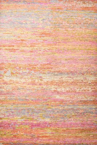 Overhead view of textural Dreamland rug in orange colour