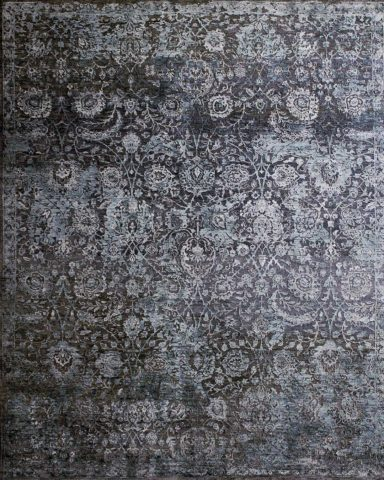 Overhead image of traditional Embellish rug in grey colour