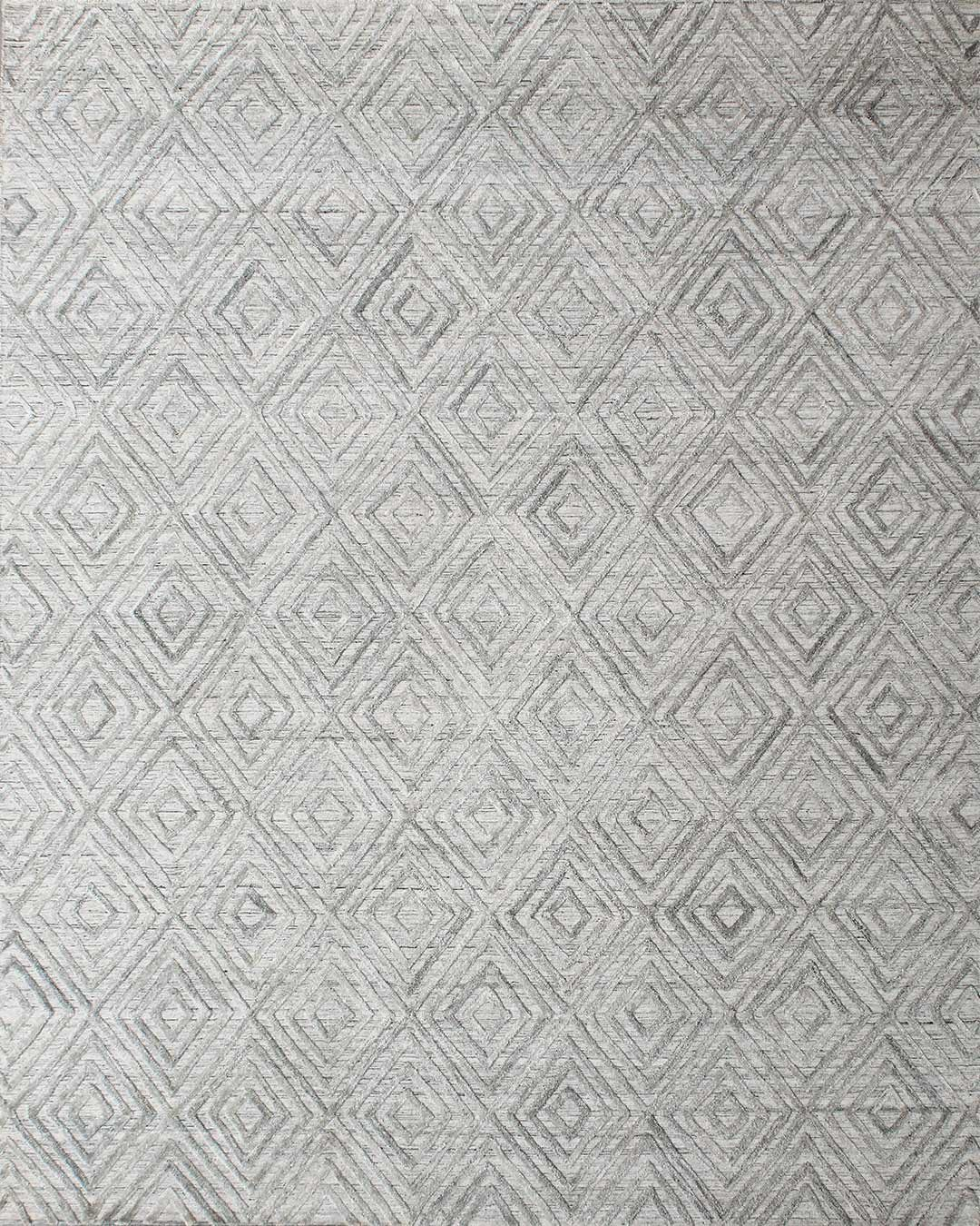 Overhead view of geometric Emery rug in silver colour