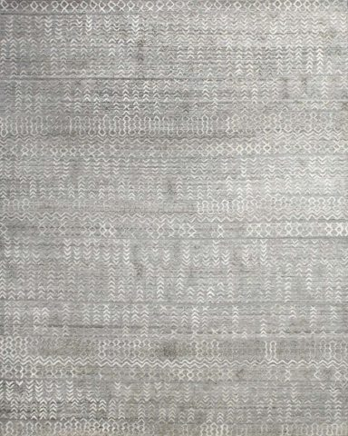 Overhead view of textural Everly rug in silver