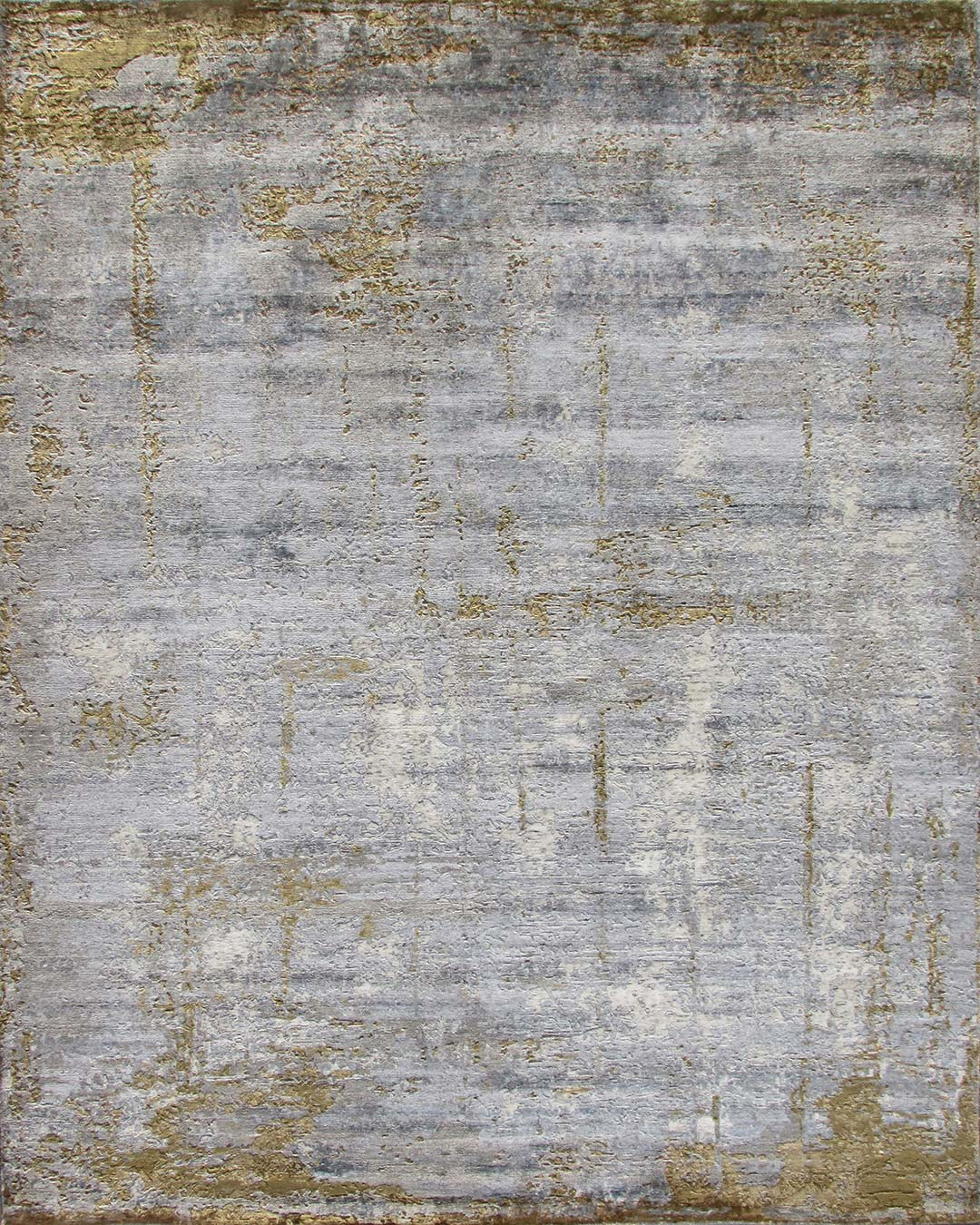 Overhead image of distressed Expose rug in gold colour