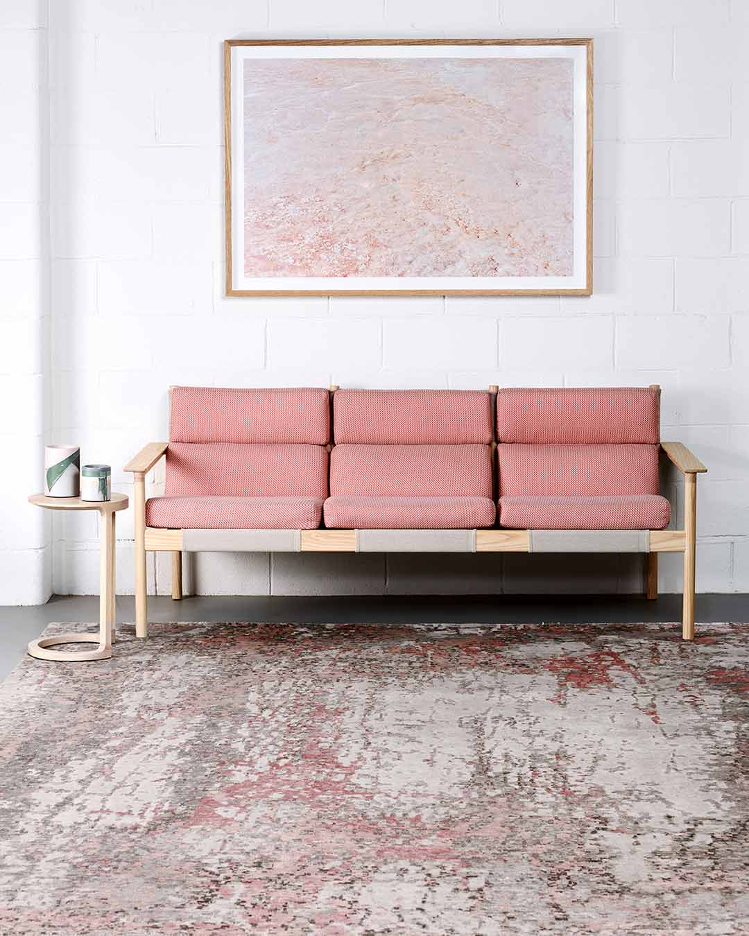 Living room image of distressed Flavia rug in pink colour