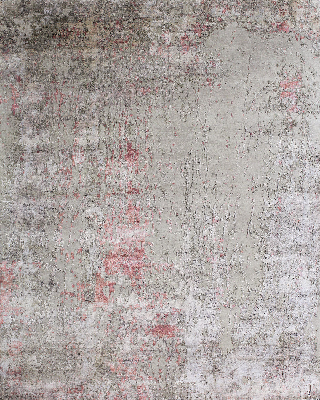 Overhead image of distressed Flavia rug in pink colour
