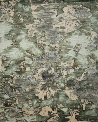 Overhead view of floral Fleur rug in green colour
