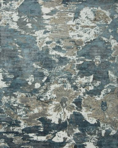 Overhead view of floral Fleur rug in blue colour
