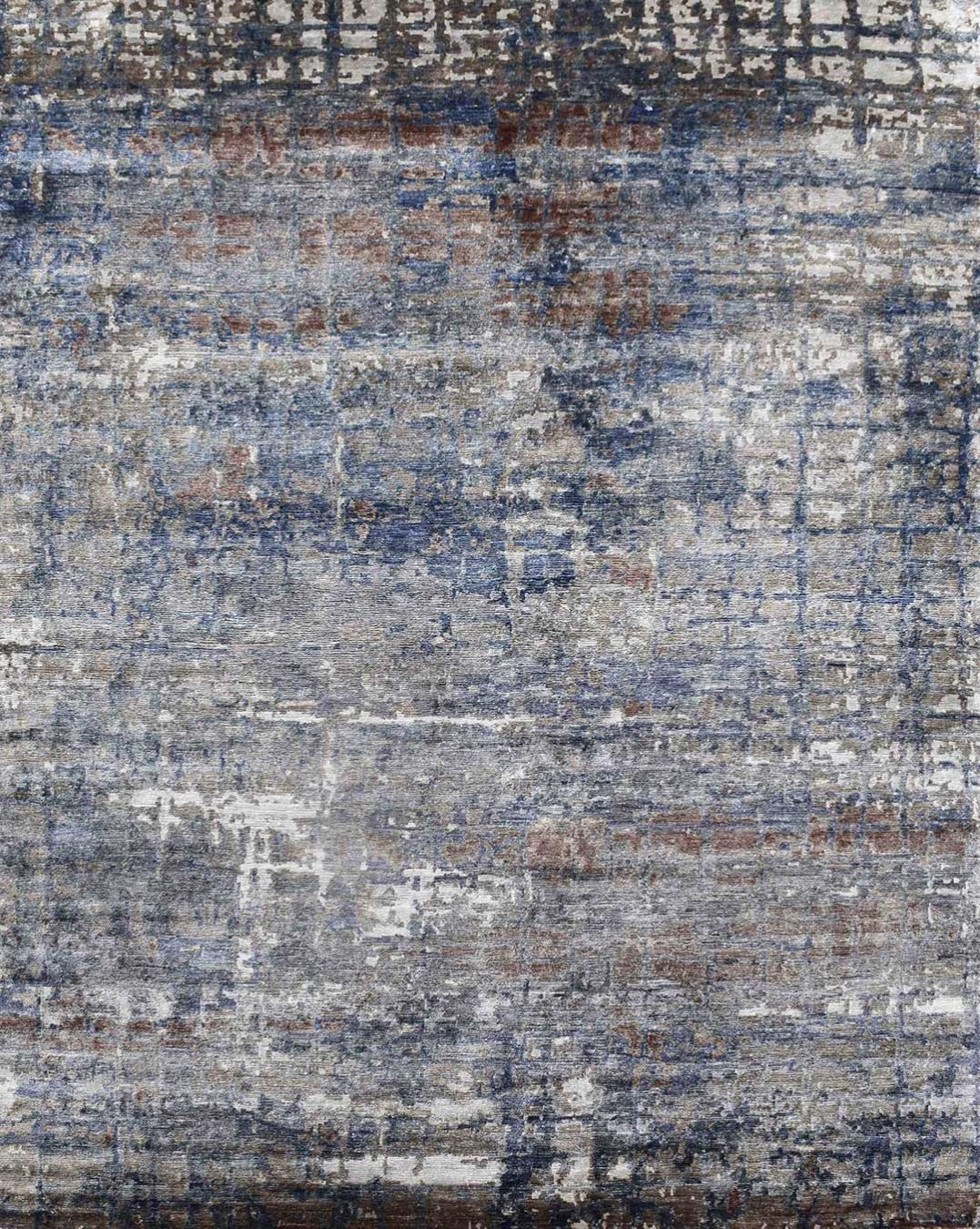 Overhead image of textural Fresco rug in blue and grey