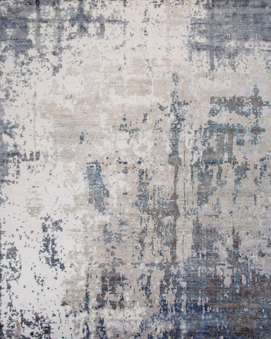 Overhead image of distressed Glacier rug in grey colour