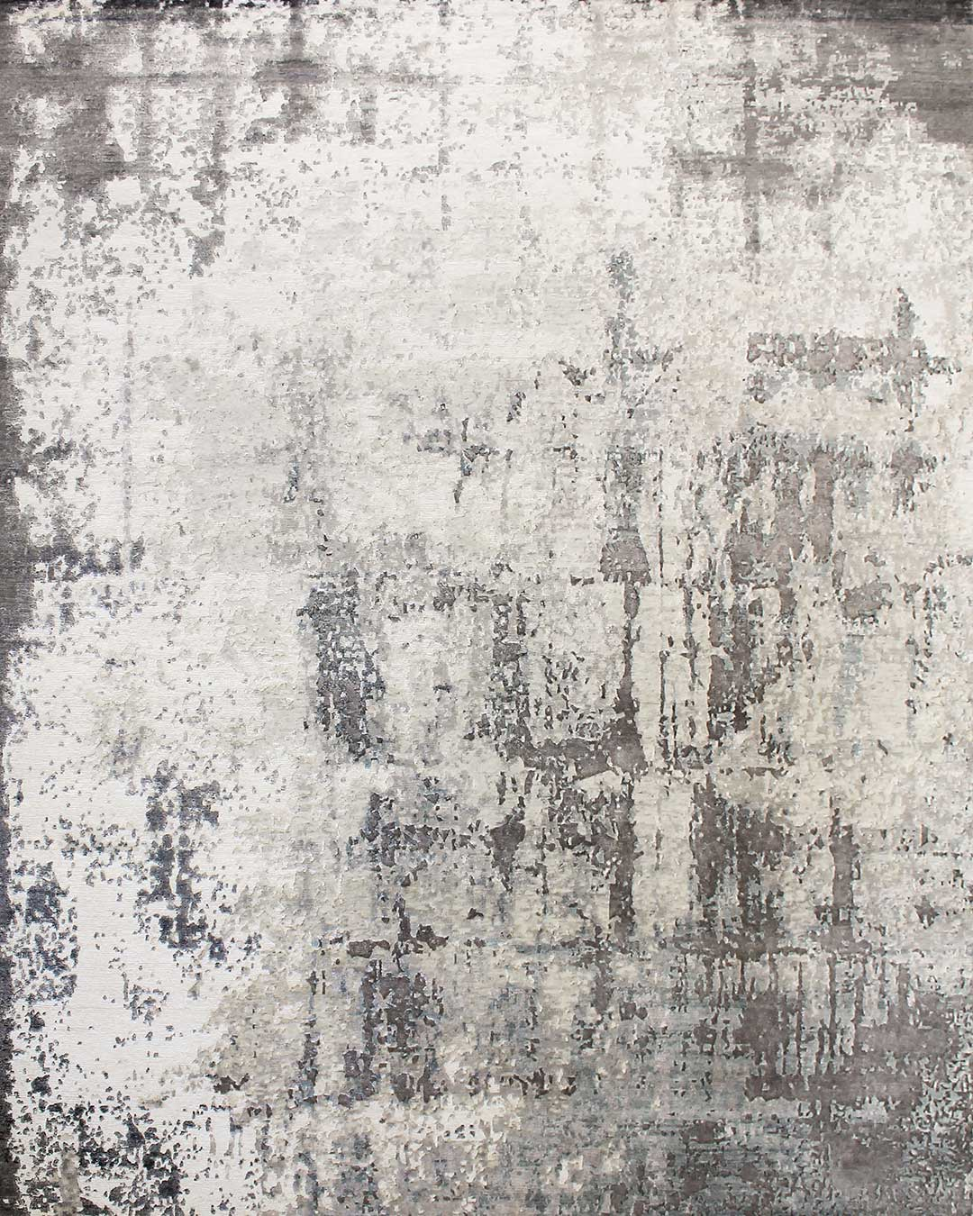 Overhead image of distressed Glacier rug in grey colour