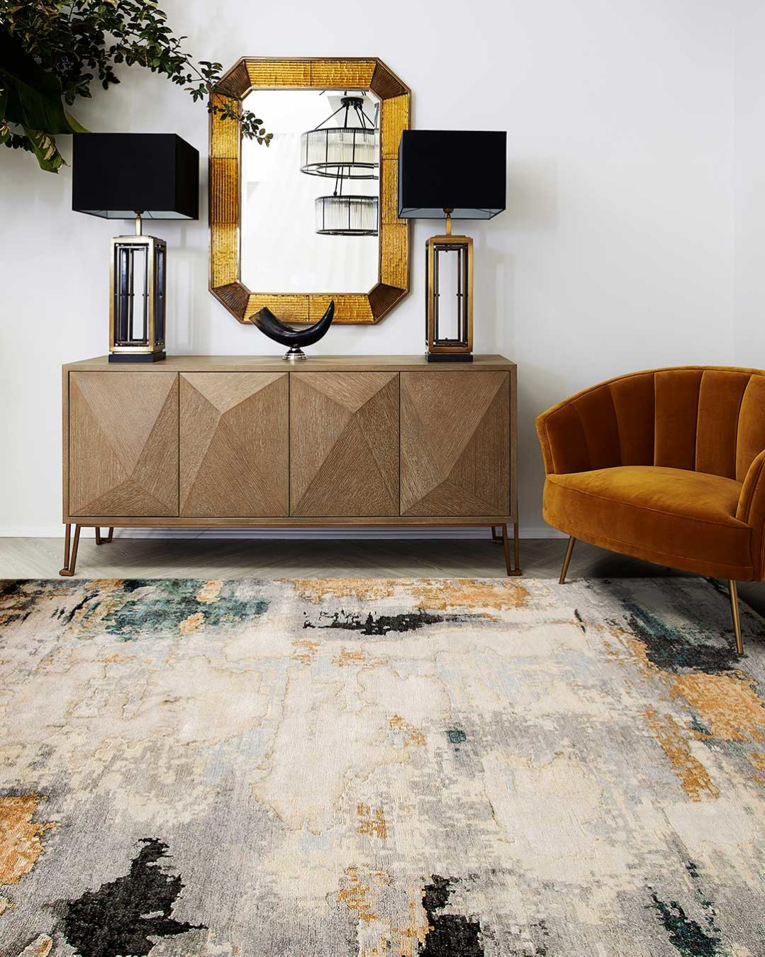 Living room image of distressed Glory Days handknot rug in gold and green