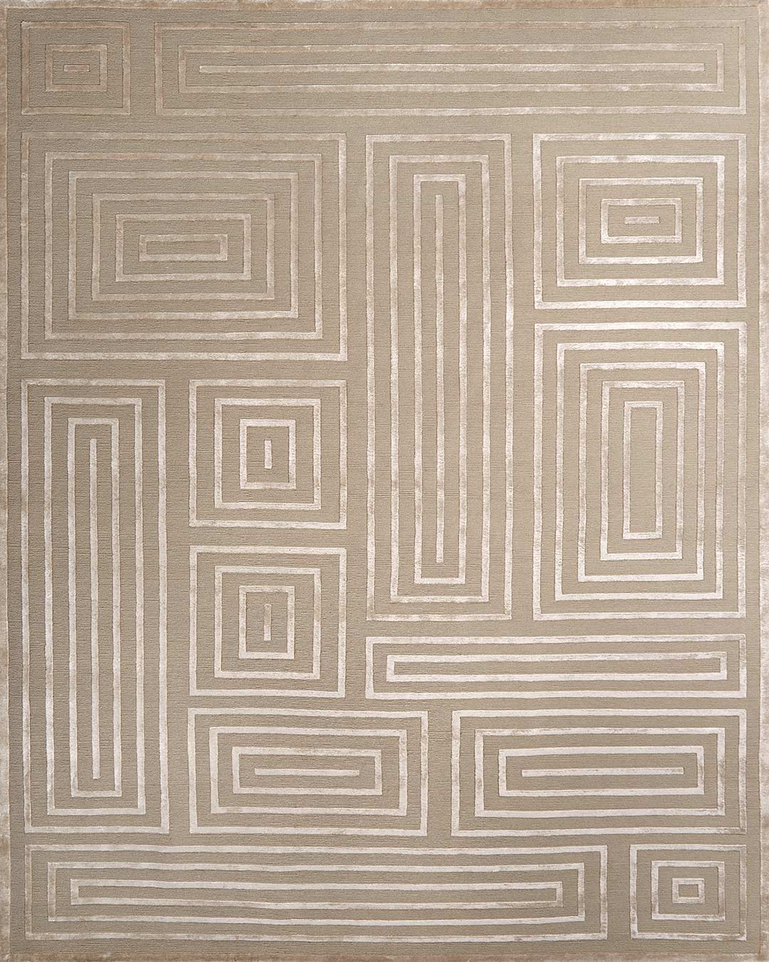 Overhead image of geometric Grave rug in beige