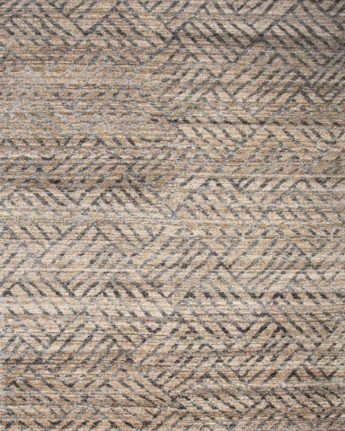 Overhead view of geometric Grid rug in beige colour