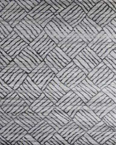 Overhead view of geometric Grid rug in grey colour