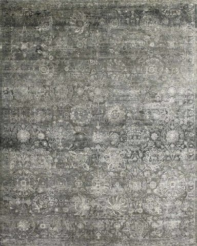 Overhead view of traditional Grigio rug in grey