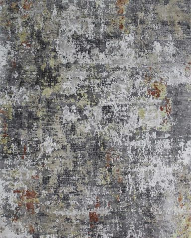 Overhead view of charcoal Harissa rug in grey colour
