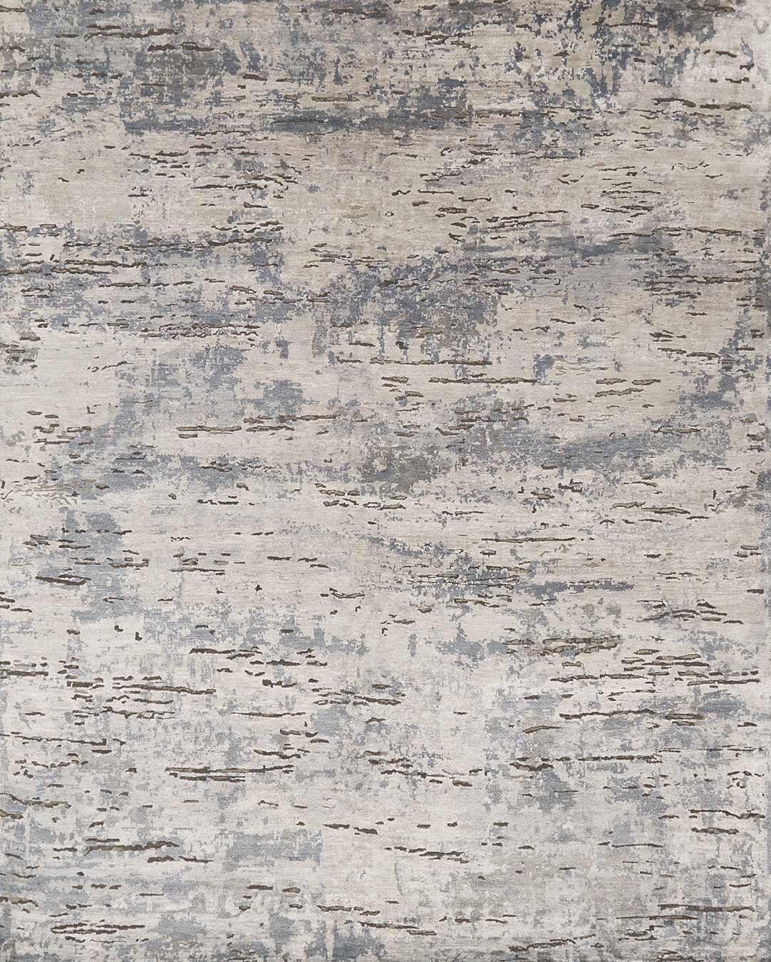 Overhead view of textured Harley rug in silver colour