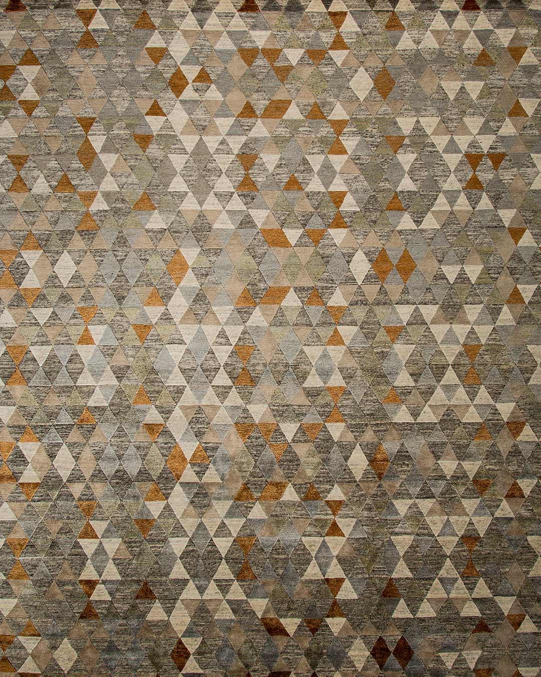 Overhead view of geometric Kalahari rug in brown colour
