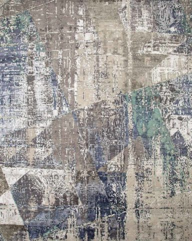 Overhead view of distressed Kashmir rug in blue colour