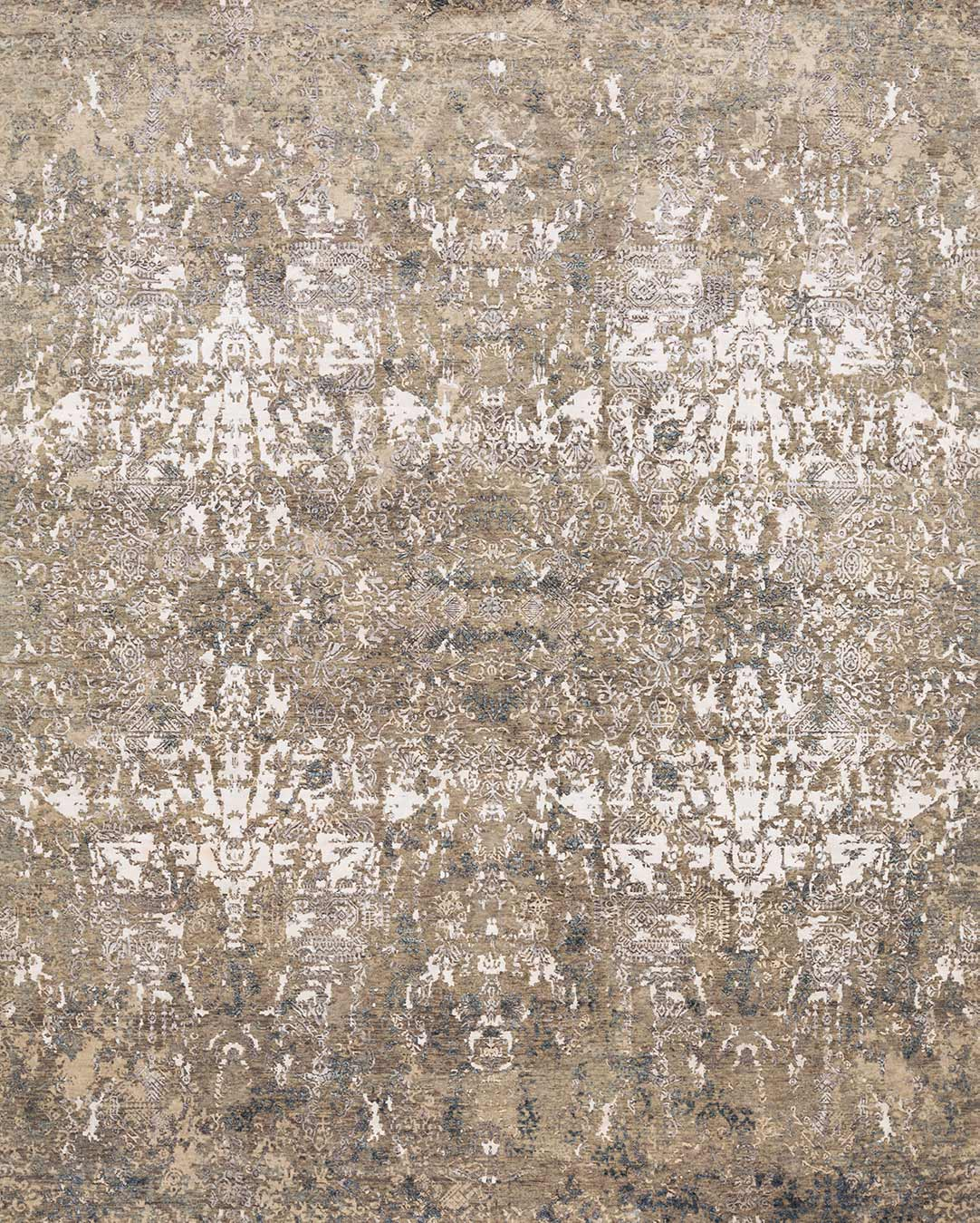 Overhead view of distressed Kismet rug in grey colour