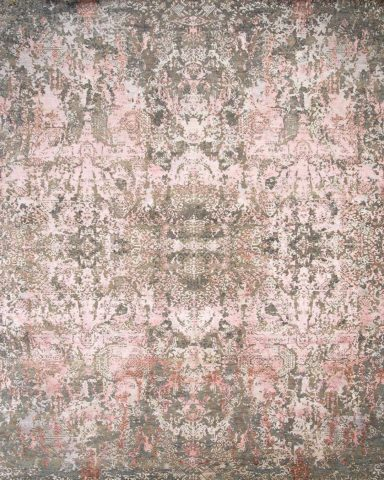 Overhead image of traditional Kismet rug in pink and beige colour