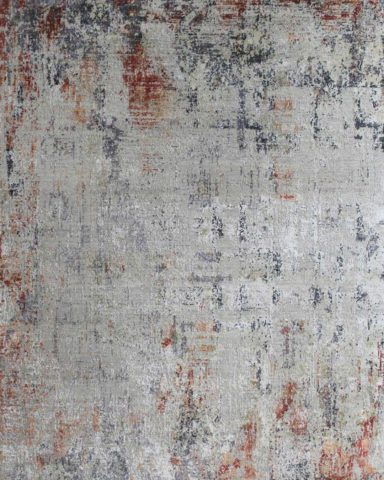 Product image of distressed Lamancha rug in silver and red colour