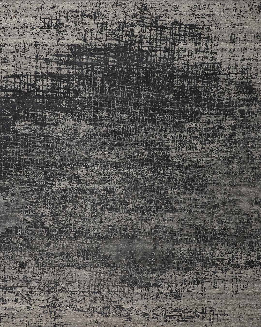Product view of distressed Lithograph rug in charcoal grey colour
