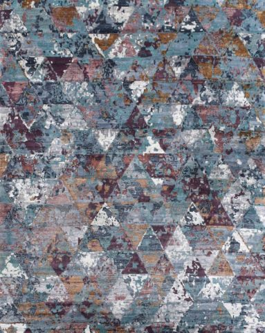 Overhead image of geometric Madagascar rug in blue and pink colour