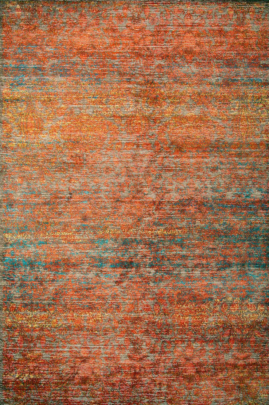Product image of distressed Malabar rug in orange colour