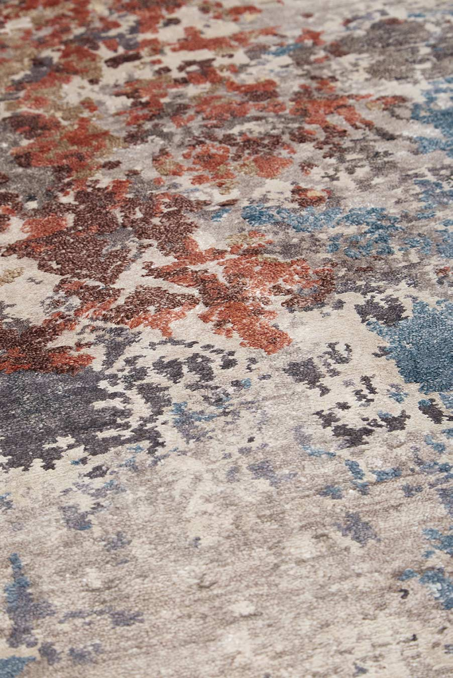 Detailed image of distressed Malaga rug