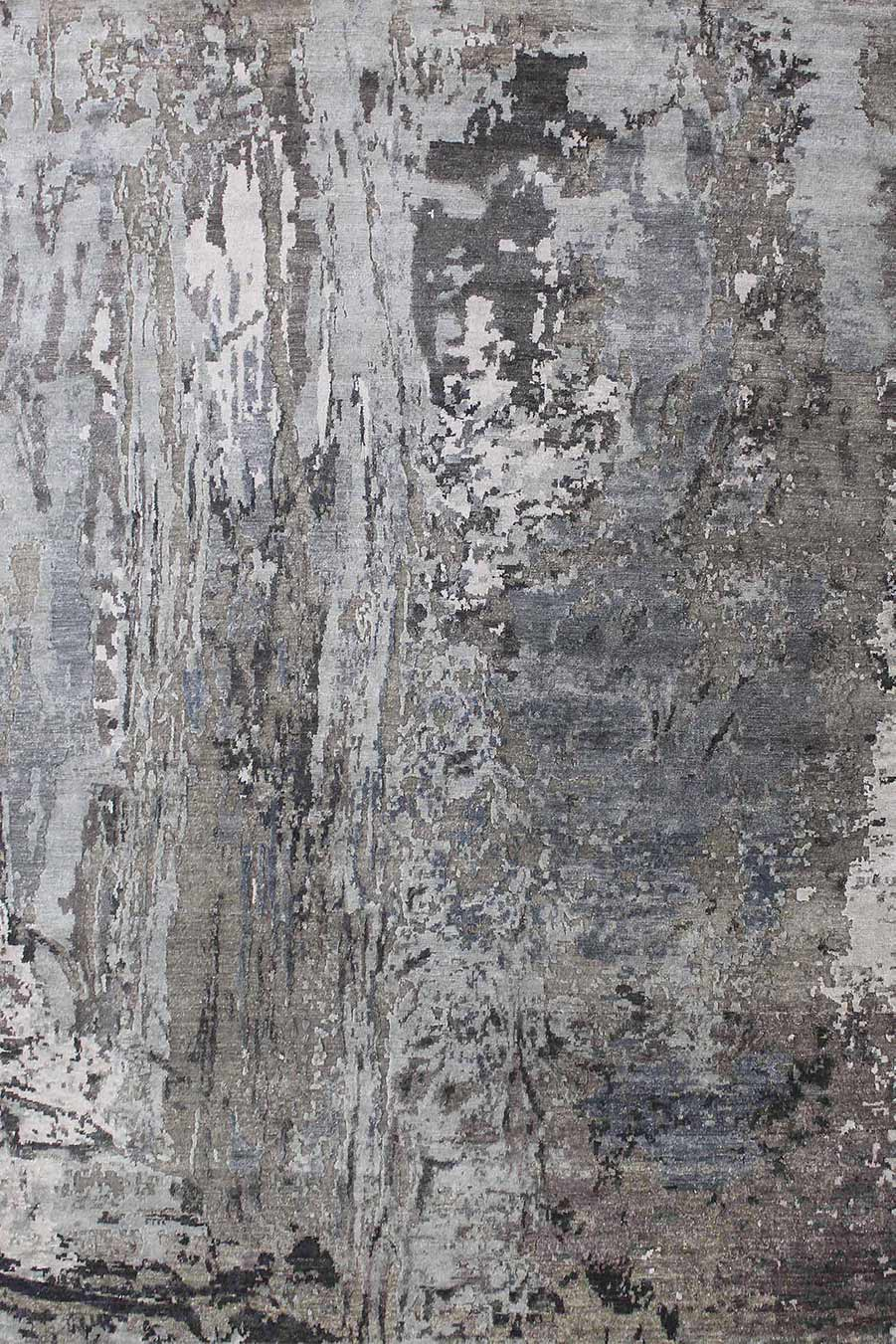 Product image of abstract handknot rug Marbella in grey colour