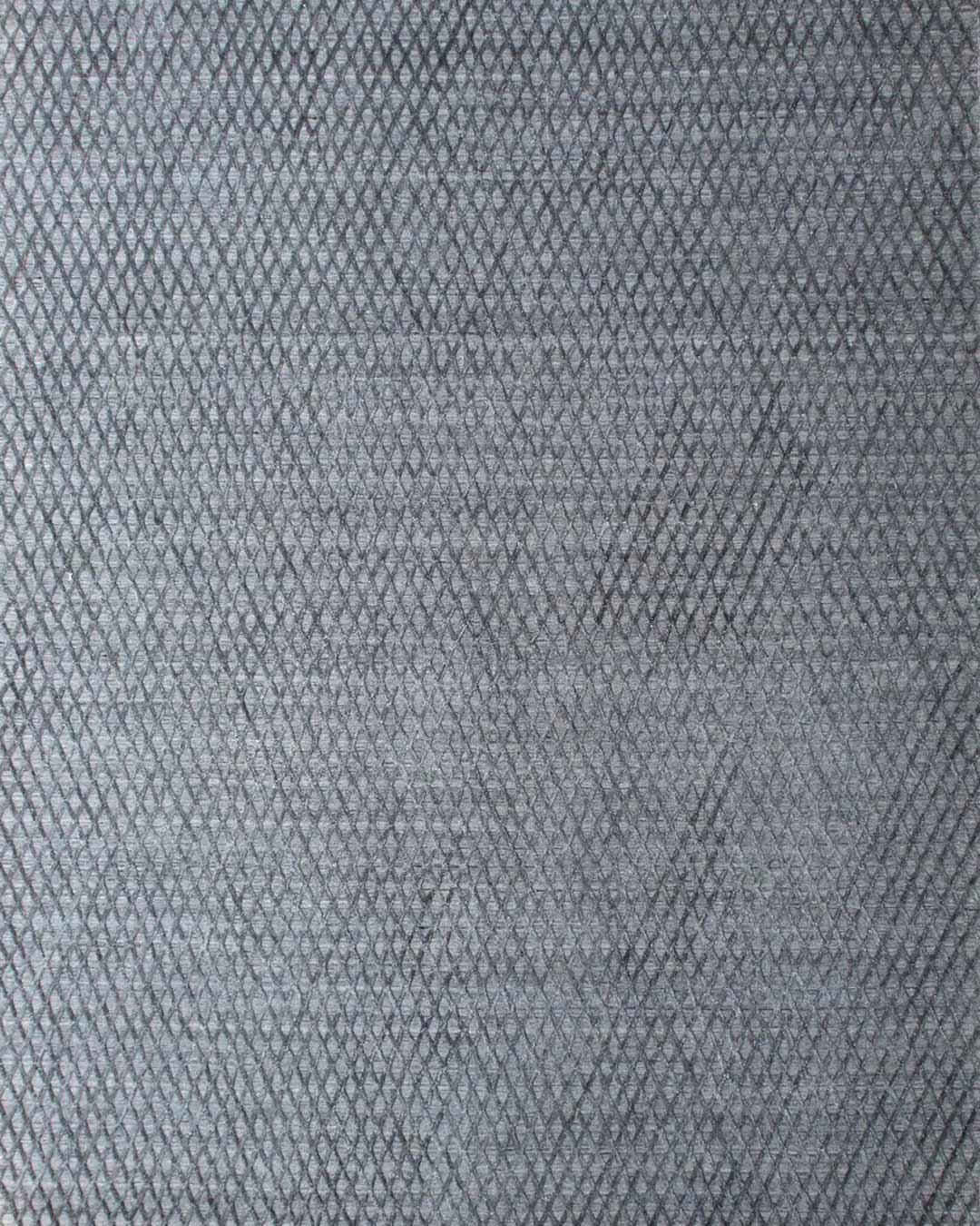 Overhead image of geometric Marley rug in silver grey colour