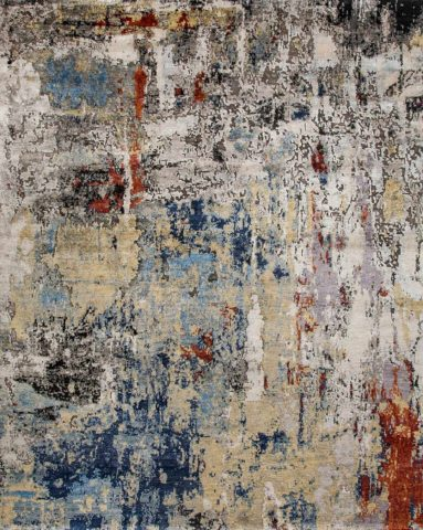 Product image of distressed Masala rug in beige blue and brown colour