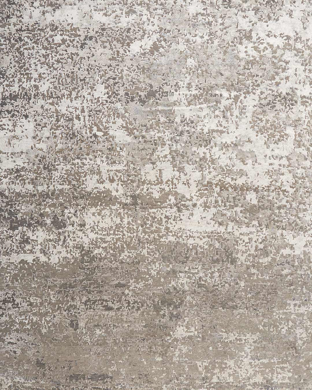 Overhead image of textured Midas handknot rug in silver colour