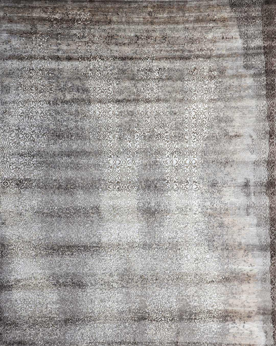Overhead image of Misty handknot rug in charcoal colour