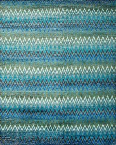 Product image of zig zag Monarch rug in blue and green