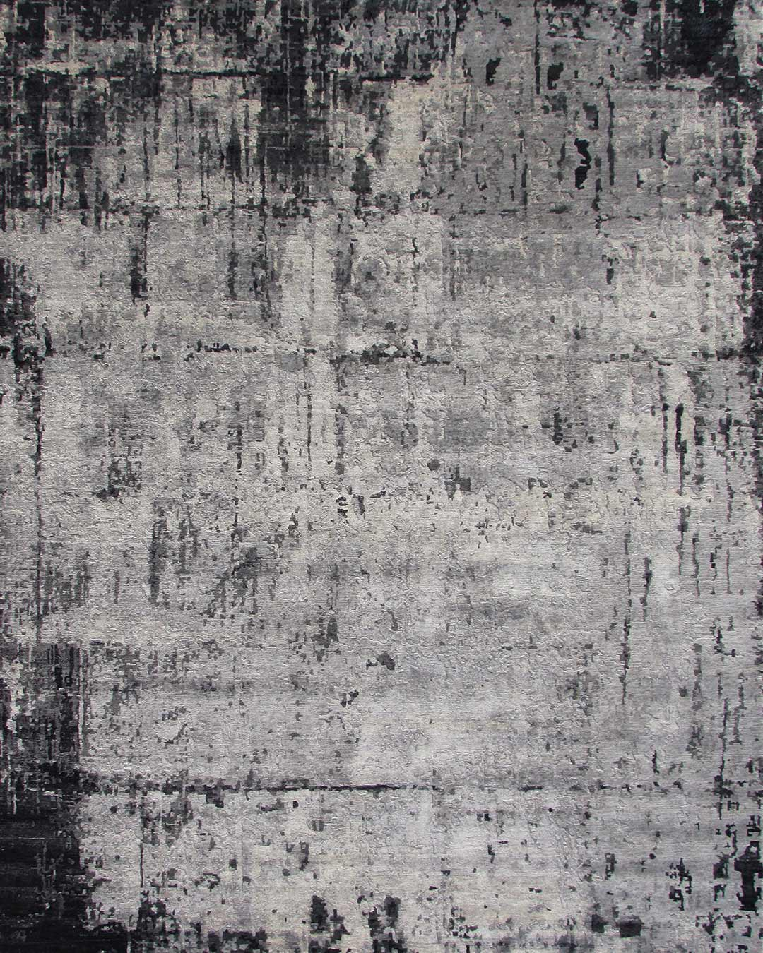 Overhead image of distressed Moraine rug in charcoal grey