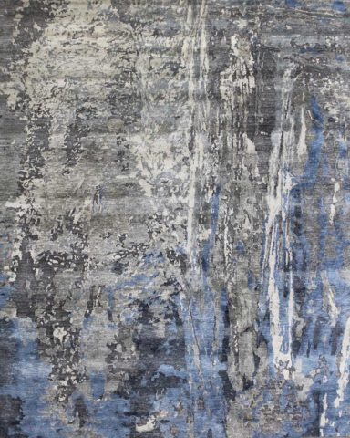 Overhead image of abstract Neptune rug in blue colour