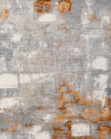 Overhead image of abstract Nubra rug in silver and bronze colour