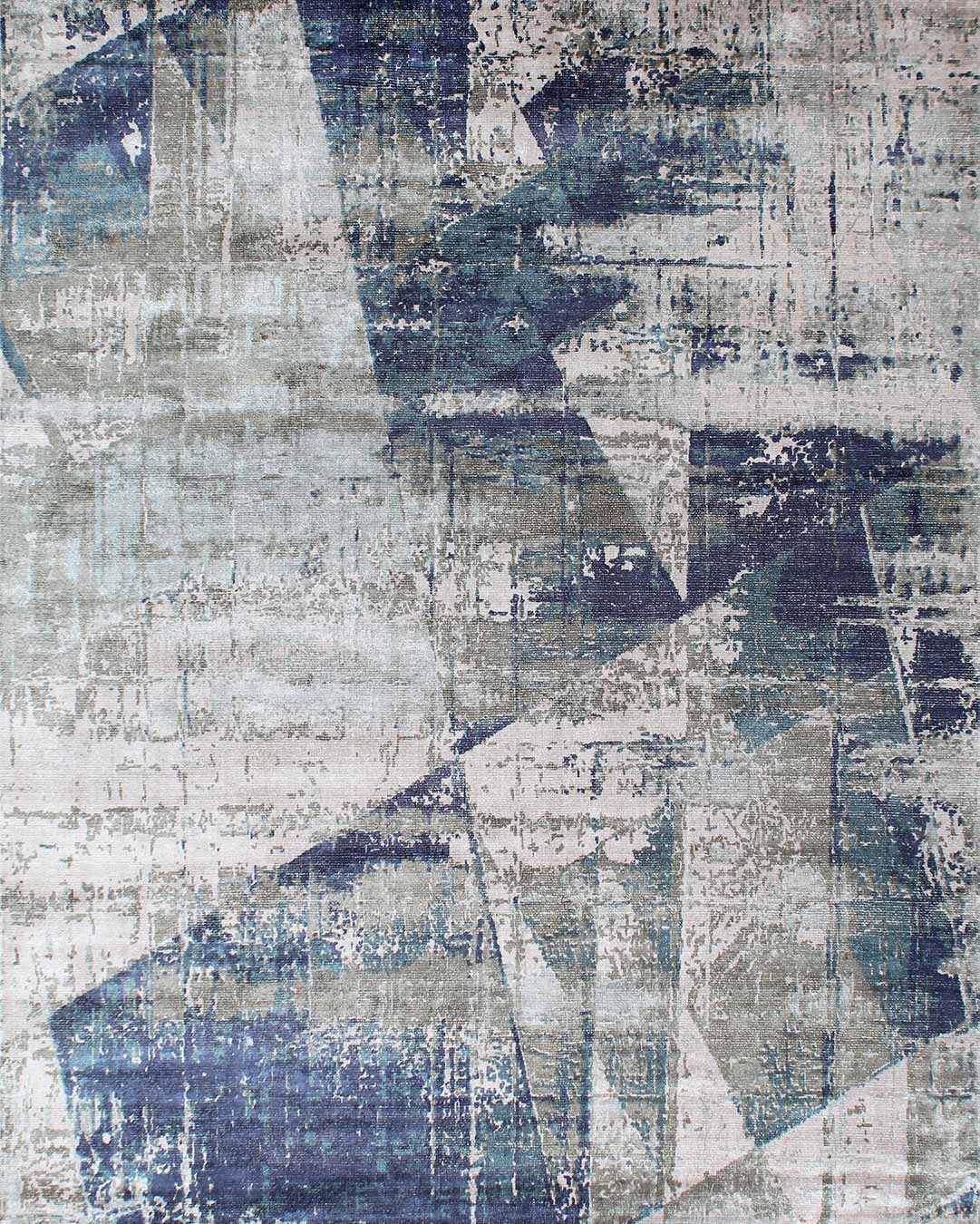 Overhead image of abstract Origami rug in blue and grey colour