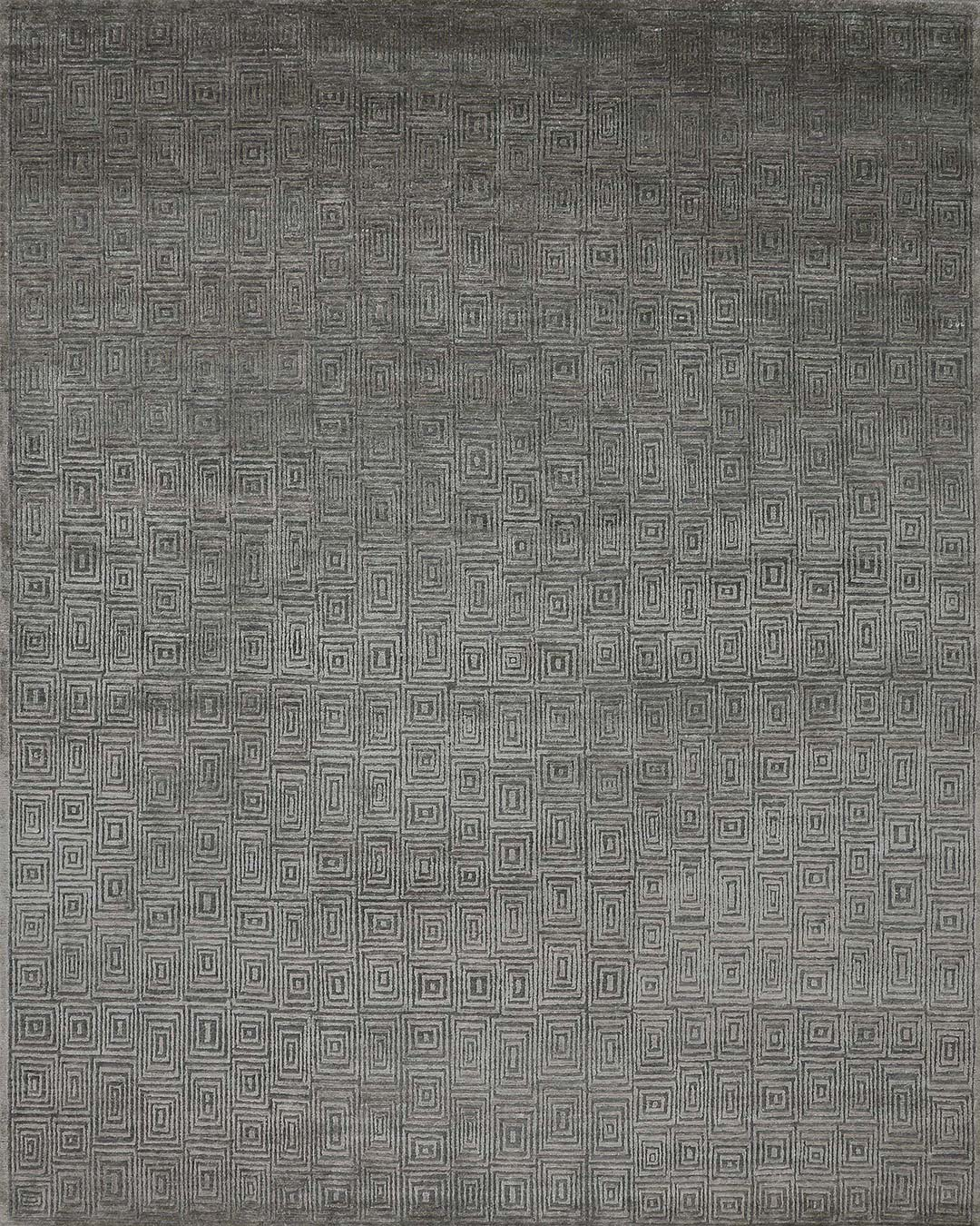 Overhead image of Pan patterned rug in grey colour